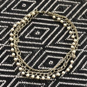 Stella and Dot Gold and Pearl Necklace